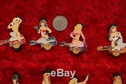 12 Hard Rock Cafe PINS Set PIN UP GIRL Online Series L100 guitar bikini lingerie