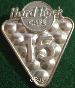 15th Year Hard Rock Cafe STAFF Sterling Silver PIN Rack of 15 Pool Balls & Logo