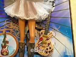 2007 HARD ROCK CAFE COLLECTORS BARBIE WithGUITAR PIN GOLD LABEL K7946 NIB LE DOLL