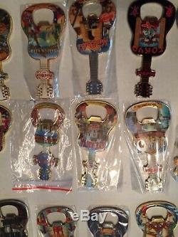 29 Lot Rock Cafe Magnet Bottle Opener Flag, India, China, USA, Europe, Thailand