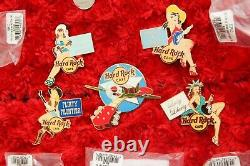 5 Hard Rock Cafe Pin Up Girl Set Airplane NOSE ART WWII airforce LE100 XL PINS