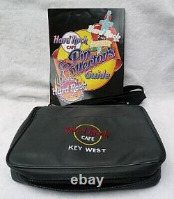 65 HARD ROCK COLLECTOR PINS, LEATHER KEY WEST CASE, PIN COLLECTOR GUIDE 1st ED