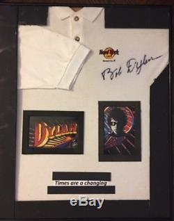 Bob Dylan authographed signed golf shirt Framed 24x20 Hard Rock Cafe w cert