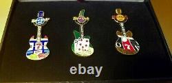GRAND OPENING PIN SET Hard Rock Casino Hotel Cafe Biloxi Guitar Pins on 07-07-07