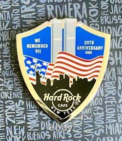 HARD ROCK CAFE 2021 NEW YORK 9/11 WORLD TRADE CENTER 20TH ANNIVERSARY PIN w CARD