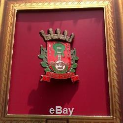 HARD ROCK CAFE CURITIBA BRAZIL GRAND OPENING STAFF PIN 3D Coat of Arms RARE