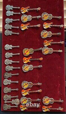 Hard Rock Cafe 32 Assorted Guitar pins, Various locations