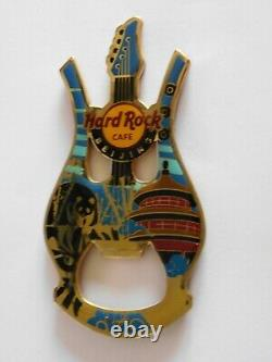 Hard Rock Cafe BEIJING Panda & Pagoda Harp / Guitar Magnet Bottle Opener