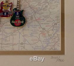 Hard Rock Cafe CALIFORNIA 1999 Interstate 5 Framed 7 Guitar PINS COA #3103/5000
