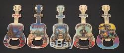 Hard Rock Cafe COLLECTION of FIVE BOTTLE OPENER Magnets CITY T-SHIRT GUITAR New
