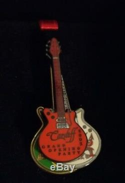 Hard Rock Cafe Cardiff Grand Opening Vip Party3 Attached Guitars Pin In Box 2003