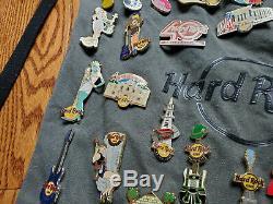 Hard Rock Cafe Collection Pins Lot Of 36 Rare Bag + Lanyard Pinups Girls Guitars