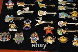 Hard Rock Cafe Huge Big Lot of 56 Pins With Wooden Case Orlando New York Guitar