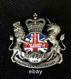 Hard Rock Cafe LONDON 2017 STAFF Silver 10Yrs+ 46th ANNIVERSARY Pin Badge LE50