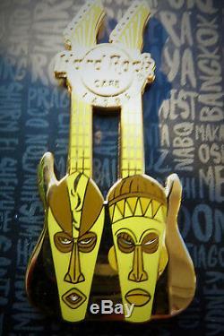 Hard Rock Cafe Lagos Nigeria Africa Double Masked Guitar Pin 2015