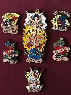 Hard Rock Cafe Las Vegas Lucky Vegas Tattoos 6x pin set LE pins RARE