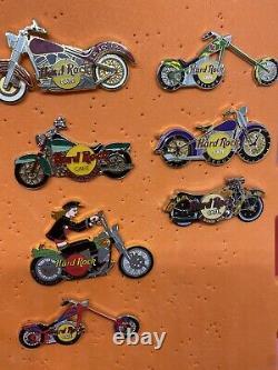 Hard Rock Cafe Lot of 14 Motorcycle Pins Guam, Munich, Stockholm, Berlin