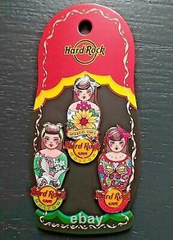 Hard Rock Cafe Moscow Russia Tattooed Matryoshka Nesting Doll 3 Pin Set 2019