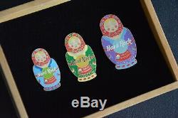 Hard Rock Cafe Moskow Grand Opening Pin Set with wooden box Russian Matryoshka