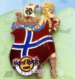 Hard Rock Cafe Oslo 2015 Flag & Landmark Viking Girl Series Pin Le 150