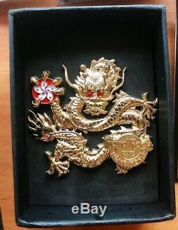 Hard Rock Cafe Pin Hong Kong Big Gold Chines Dragon 3D