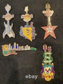 Hard Rock Cafe Pin Lot of 11 US Guitar Pins. Las Vegas Yankee Orlando