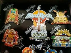 Hard Rock Cafe Pins Bali New Years 7 Pin Set In Wooden Box Rare Very Rarely Seen