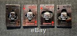 Hard Rock Cafe Pins Hamburg card with skull (set 4 pins)