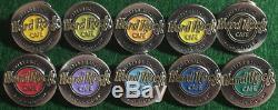 Hard Rock Cafe STOCKHOLM 1990s HAPPY BIRTHDAY Round Pewter Logos 10 PIN SET