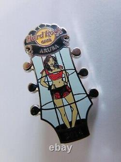 Hard Rock Cafe Sexy Exotic Cage Dancing GO GO Girl Headstock Pin ARUBA
