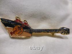 Hard Rock Cafe Singapore Blue Over White Ship Guitar Pin