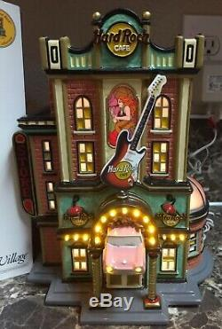Hard Rock Cafe Snow Village Department 56 #56.55324 with Collector Pin used
