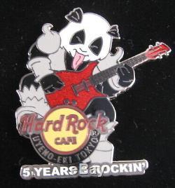 Hard Rock Cafe Uyeno-Eki 5th Anniversary Panda KISS Bear Rock Band 4 Pins Set