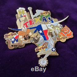 Hard Rock Cafe pin puzzle set TEXAS Houston Dallas San Antonio Austin flag skull
