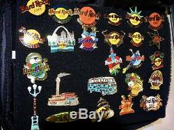 Hard Rock cafe 95 Pins / Buttons Collection+ HRC Hollywood Collector bag