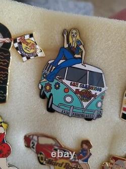 Hars to Find Hard Rock Cafe 10 Pin Sexy Pinup Girl Lot Cars Racing Sexy