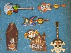 Huge Lot 196 Hard Rock Cafe Collectible Pins 4 Wood & Glass Display Cases withKeys
