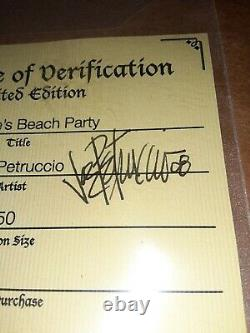 Joe Petruccio Hard Rock Park Framed Pin Set Rare Rocksie's Beach Party Cafe AUTO