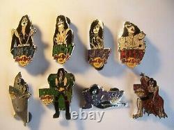 Kiss Vol. #2 Japan Bust & Glitter Series'05 set of 8 Hard Rock Cafe Pins LE 1000