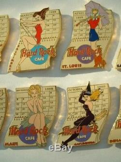Lot De 12 Pin's Mois De L'annee 1999 Hard Rock Cafe Pin'up