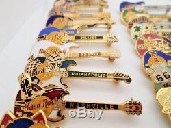 Lot of 30 Hard Rock Cafe Guitar Pins Please Read Description for the breakdown