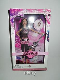NIB NRFB 2006 Pink Label Barbie Hard Rock Cafe Guitar/Pink Camo w Collector Pin