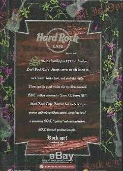 NRFB BARBIE COLLECTOR DOLL 2008 HARD ROCK CAFE GOLD LABEL Guitar Pin Punk Goth