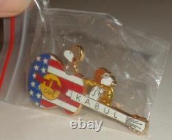 Peanuts Snoopy enamel pin, Hard Rock Cafe Kabul, military American guitar