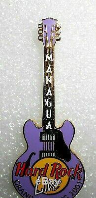 RARE Hard Rock Cafe LIVE MANAGUA Grand Opening 2001 Guitar Pin