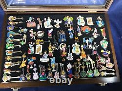 S2-95 Hard Rock Cafe Pins 67 Pin Lot In Glass / Wood Case -67 Pins For 1 Price