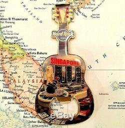 SINGAPORE Hard Rock CAFE HRC CITY GUITAR METAL MAGNET BOTTLE OPENER RARE