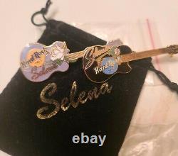 Selena Quintanilla Hard Rock Cafe Rare Collector's Guitar Pins, Set of TWO