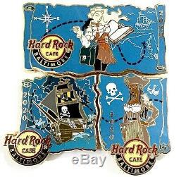 2020 Hard Rock Cafe Baltimore Sexy Pirate Girl Treasure Map (3) Pin Set Puzzle