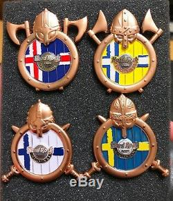 Hard Rock Cafe 4 Pins Bouclier De Drapeau De Viking Série 3d Reykjavik Stockholm Helsinki